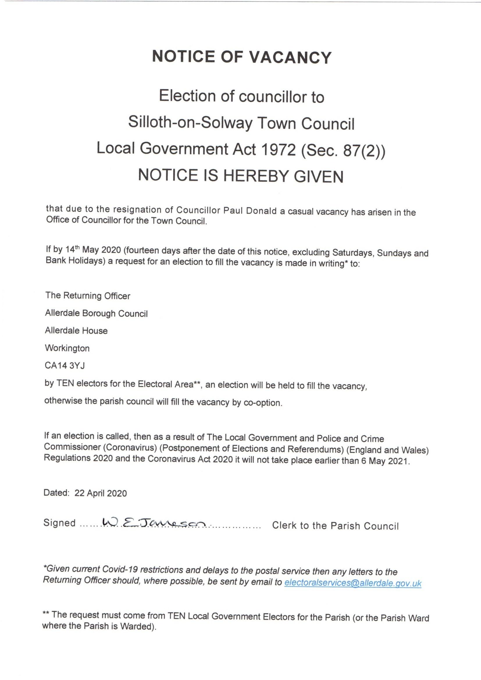 Notice of vacancy April 2020